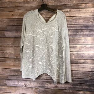 Embroidered Front & Tie Back Light Grey Sweater